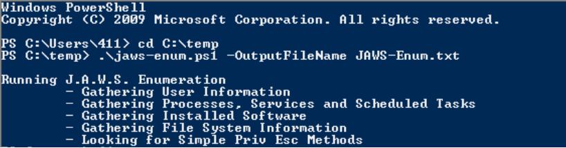 J A W S  Windows Enumeration Script - Ellingson Mineral